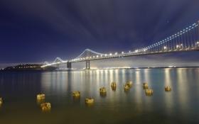 Обои ночь, мост, огни, залив, Сан-Франциско