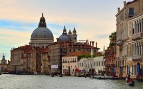 Картинка небо, лодка, дома, Италия, Венеция, собор, канал