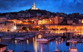 Картинка ночь, огни, река, Франция, яхты, лодки, фонари