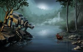 Обои ночь, озеро, река, фантастика, встреча, робот, арт