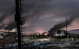 Обои зомби, дома, left 4 dead 2, пожары, трейлеры, на колесах