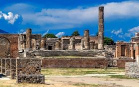 Обои небо, город, Италия, храм, руины, колонна, Помпеи