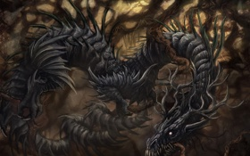 Обои forest, wood, dragon, creature