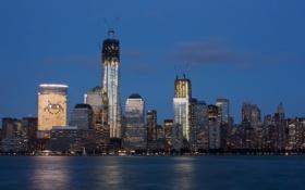 Обои панорама, река, Exchange Place, здания, Jersey City