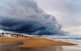 Картинка песок, море, гроза, пляж, пальмы, дома, туча