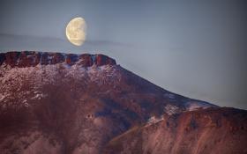 Обои небо, горы, природа, луна, север, арктика