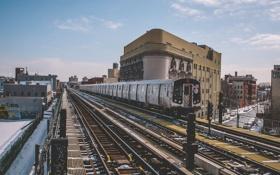 Обои зима, снег, город, Нью-Йорк, поезда, Соединенные Штаты, городской