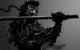 Обои dark, sword, katana, warrior