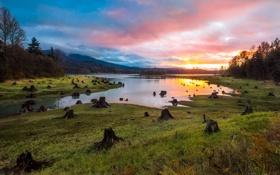 Картинка Landscape, Sunset, Alder Lake