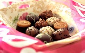 Обои шоколад, конфеты, сладости, десерт, сладкое, тарелочка