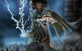 Картинка воин, Raiden, Mortal Kombat, сидит, молнии