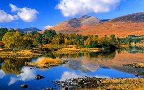 Обои осень, небо, деревья, горы, озеро