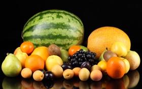 Обои виноград, яблоки, груши, фрукты, апельсин, персики, дыня