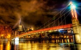 Обои река, небо, дома, ночь, hdr, мост, огни