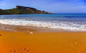 Обои бухта, Мальта, небо, море, скала, Tuffieha