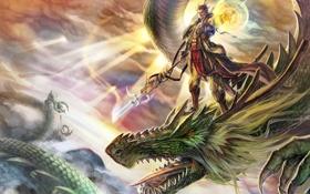 Картинка магия, дракон, арт, парень, в небе, иллюстрация, B.c.N.y.