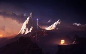 Картинка небо, закат, взрыв, Горы, ракета