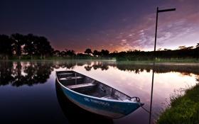 Обои вечер, небо, лодка, озеро, лето