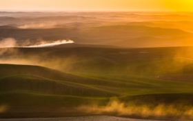 Обои sunset, hills, usa, palouse, idaho