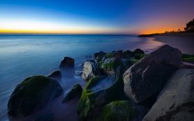 Картинка закат, океан, скалы