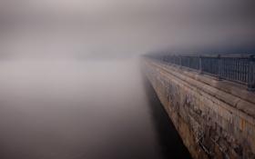 Картинка пейзаж, туман, река, улица