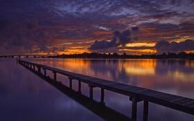 Картинка небо, облака, закат, мост, река, вечер