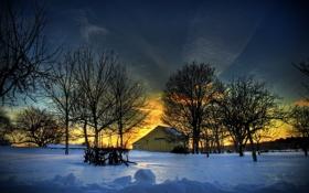 Картинка зима, снег, деревья, закат, дом