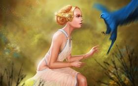 Картинка девушка, украшения, птица, арт, попугай, профиль