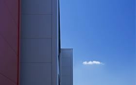 Обои небо, здание, минимализм, облако