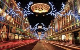 Обои ночь, огни, праздник, улица, Англия, Лондон, Новый Год