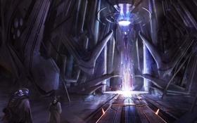 Обои здание, луч, существо, арт, cloudminedesign, Halo 4