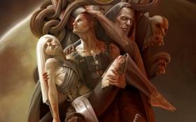 Обои девушка, кровь, черепа, Corrado Vanelli
