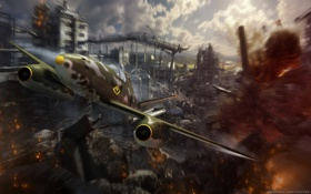 Обои MMO, разрушения, WoWp, World of Warplanes, авиа, Мир самолётов, Wargaming.net