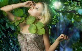 Картинка листья, настроение, блондинка