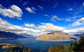 Обои облака, пейзаж, горы, природа, озеро, lake, wakatipu
