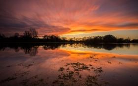 Картинка небо, отражения, озеро