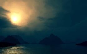 Картинка море, небо, вода, облака, ночь, природа, озеро