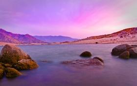 Обои камни, спокойствие, вода, розовое, море