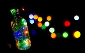 Обои макро, огни, бутылка
