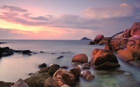 Обои закат, камни, берег, Исландия