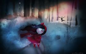 Картинка зима, лес, снег, снежинки, ветер, олень, арт