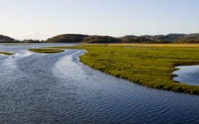 Картинка трава, вода, река, холмы, берег