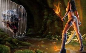 Картинка девушка, оружие, фантастика, огонь, динозавр, факел, пещера