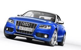 Обои Audi, Синий, Кабриолет, Лого, Решетка, Фары, Автомобиль