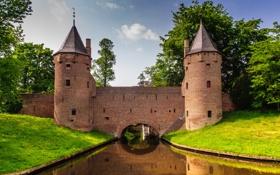 Обои трава, небо, башня, канал, замок, арка, деревья