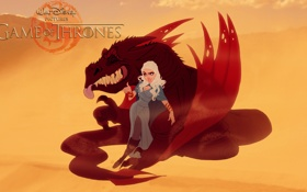 Обои dragon, game of thrones, Daenerys Targaryen, fan art