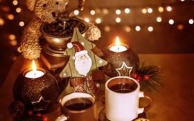 Картинка teddy bear, Рождество, Christmas, New Year, coffee, украшения, праздник