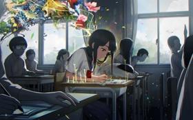 Картинка животные, цветы, птицы, фантазия, девушки, картина, аниме