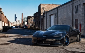 Обои чёрный, corvette, переулок, шевроле, black, чикаго, chevrolet