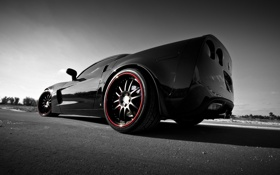 Обои задняя часть, black, Corvette, Z06, шевроле, чёрный, Chevrolet